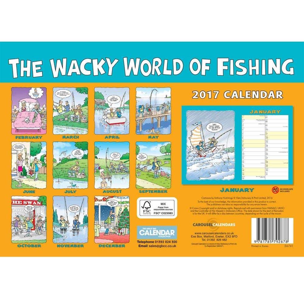 Wacky world of fishing 2017 a4 calendar farlows for Fishing almanac 2017