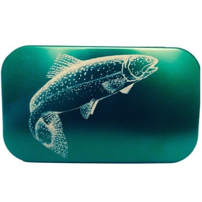 Richard Wheatley Laser Engraved Leaping Brown Trout Fly Box