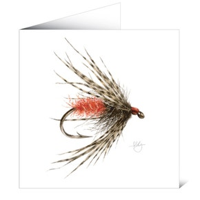 Mayfly Art Greetings Card - Soft Hackle Wet Fly