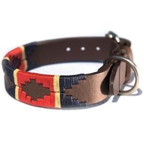 Pioneros Red/Navy/Cream Stripe Dog Collar