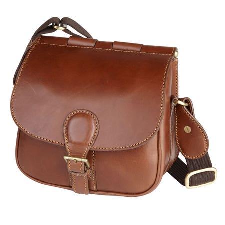 Laksen Natural Mahogany Leather Cartridge Bag