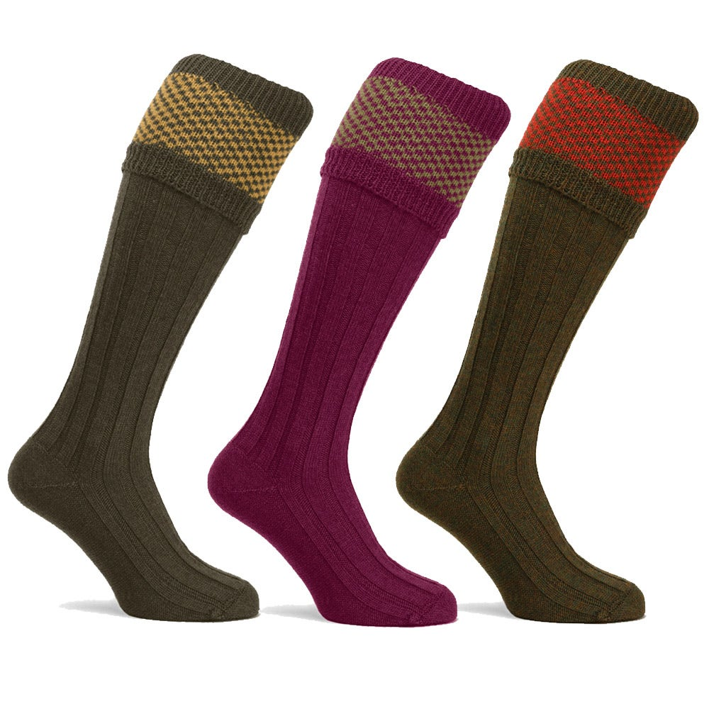 Farlows Penrith Checker Knit Shooting Socks Mens Socks ...