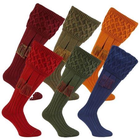 Farlows Rannoch Basket Weave Shooting Sock & Garter Set