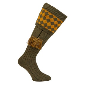 Farlows Chessboard Ribbed Shooting Sock & Garter Set