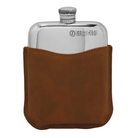 Farlows 6oz Hip Flask with Tan Leather Pouch