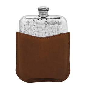 Farlows 6oz Planished Hip Flask with Leather Pouch
