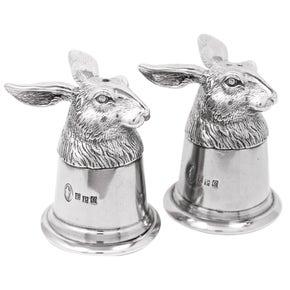 Farlows Pewter Hare Salt & Pepper Shaker Set