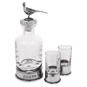 Farlows Pheasant Decanter with Shot Glasses