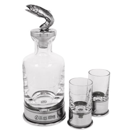 Farlows Fish Decanter with Shot Glasses