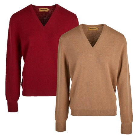 Farlows Ladies V-Neck Lambswool Knitted Jumper