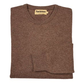 Farlows Driftwood Crew Neck Lambswool Knitted Jumper