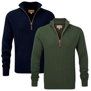 Schoffel Cable 1/4 Zip Cashmere Knitted Jumper