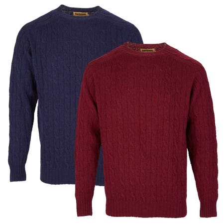 Farlows Lambswool Crew Cable Knitted Jumper
