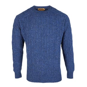 Farlows Denim Lambswool Crew Cable Knitted Jumper