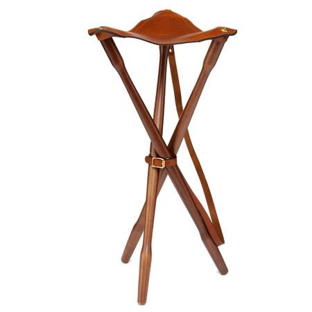 Laksen Natural Mahogany Teak & Leather Tripod Seat