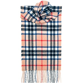 Farlows Thompson Camel Modern Check Lambswool Scarf
