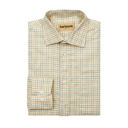 Farlows Small Windowpane Tattersall Cotton Shirt
