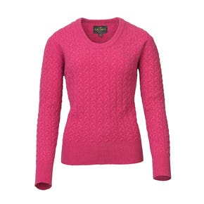 Laksen Cherry Burleigh Cable Knit Lambswool Jumper