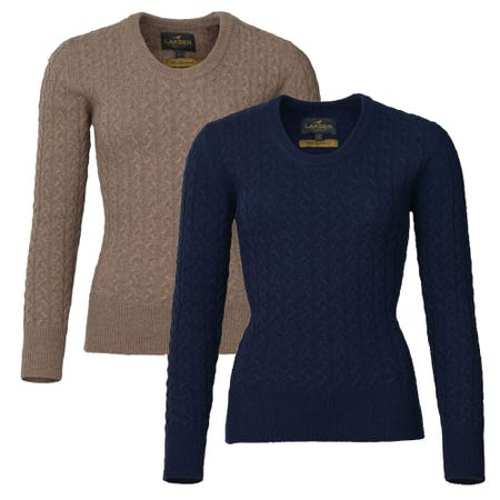 Laksen Ladies Burleigh Cable Knit Lambswool Jumper