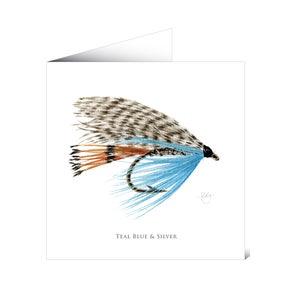 Mayfly Art Greetings Card - Teal, Blue & Silver