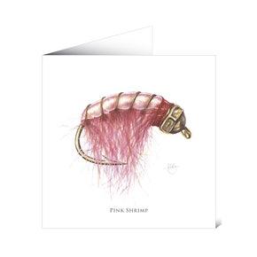 Mayfly Art Greetngs Card - Pink Shrimp