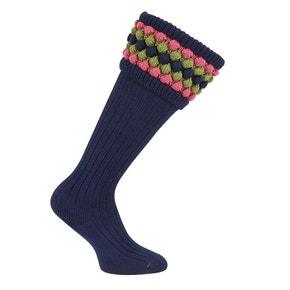 Farlows Navy Lady Angus Bobble Top Knit Shooting Sock