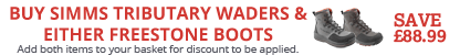 Buy a pair of Simms Tributary Waders and matching Simms Freestone Boots and Save £88.99