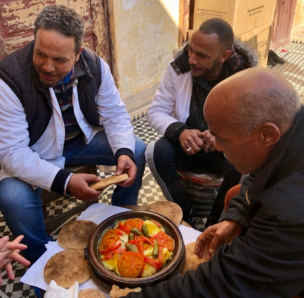 Eating with friends, Moroccan style